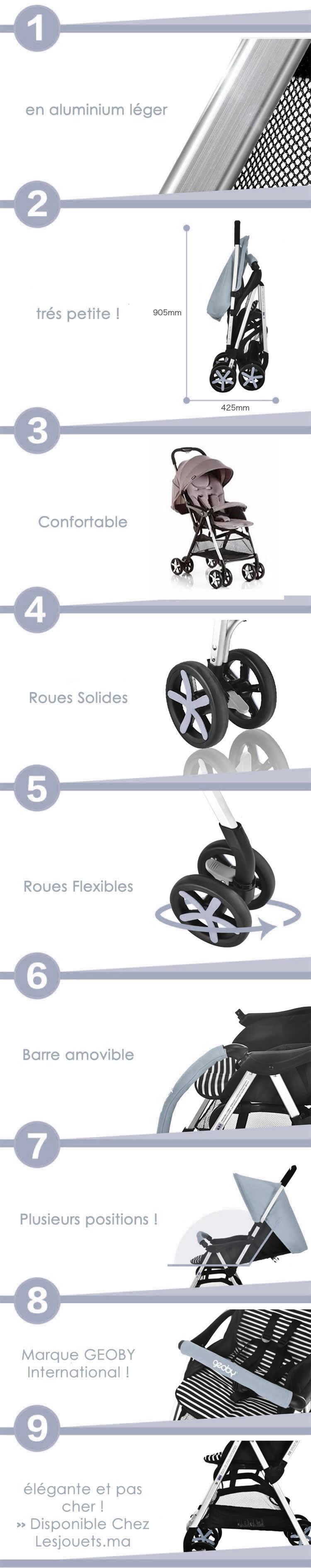 detaille technique de la poussette